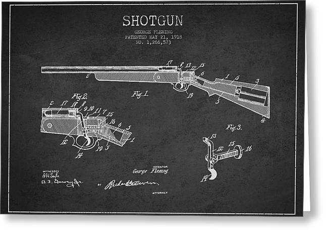 Shotgun Patent Drawing From 1918 Greeting Card