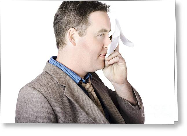 Sick Business Man With Cold And Flu Cough Greeting Card by Jorgo Photography - Wall Art Gallery