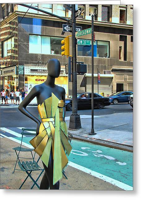 Sidewalk Catwalk 14 Greeting Card by Allen Beatty