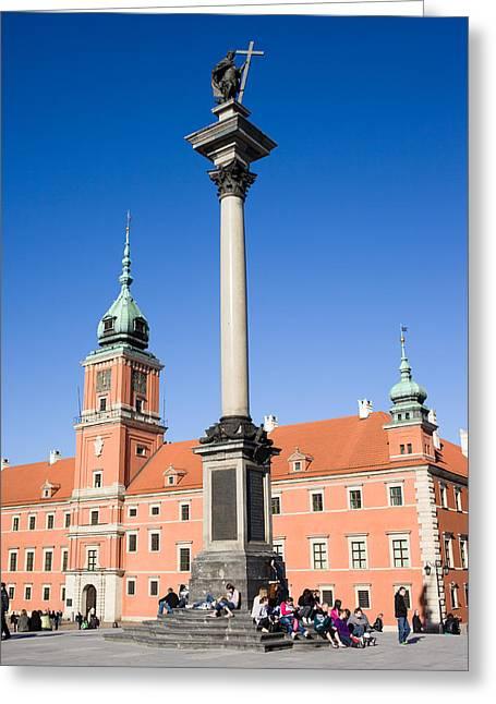 Sigismund's Column And Royal Castle In Warsaw Greeting Card by Artur Bogacki
