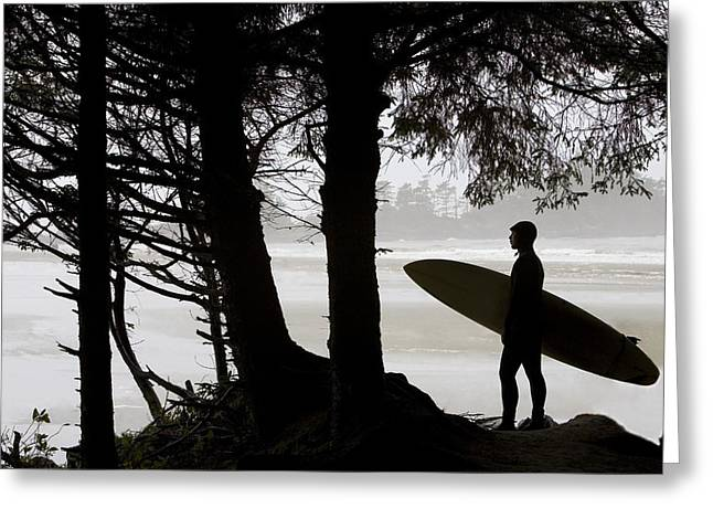 Silhouette Of A Surfer Looking Out To Greeting Card
