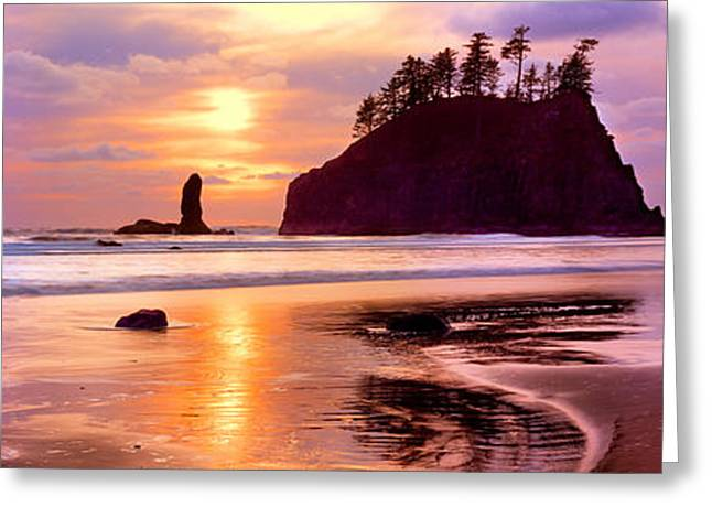Silhouette Of Sea Stacks At Sunset Greeting Card