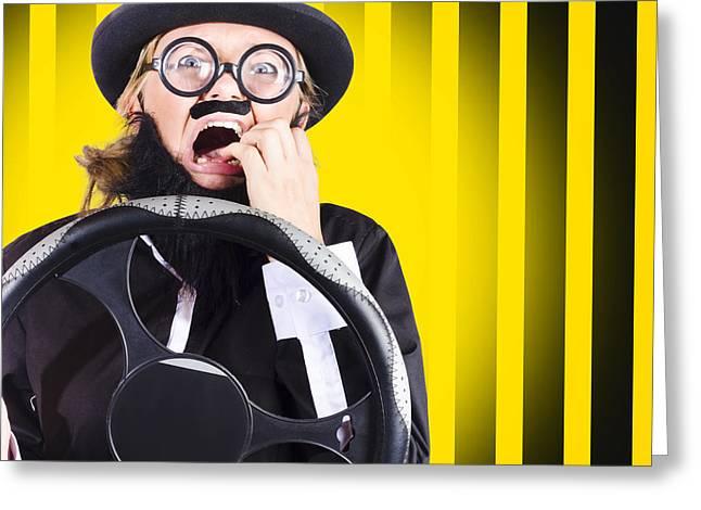 Silly Driver In A Nail Biting Car Crash Greeting Card