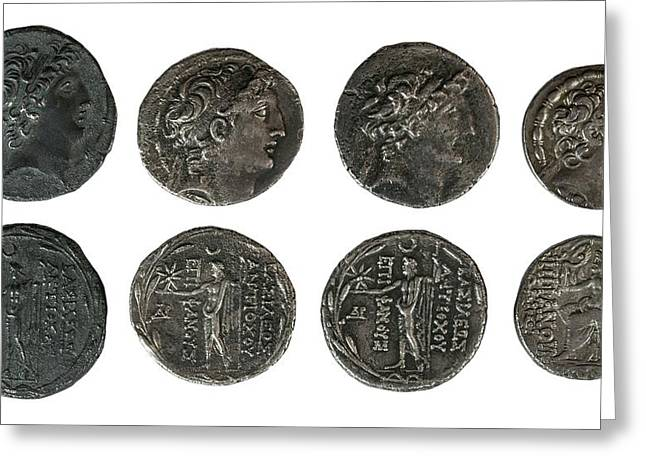 Silver Tetradrachm Coins Greeting Card by Photostock-israel