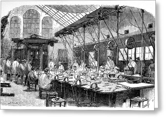 Silverware Factory Greeting Card by Science Photo Library