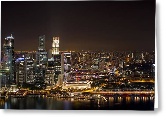 Singapore City Skyline At Night Greeting Card by David Gn