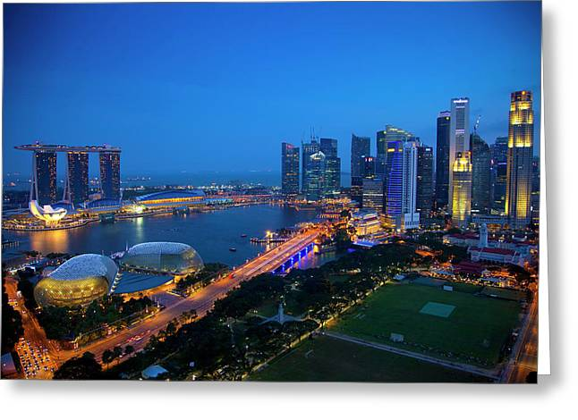 Singapore Downtown Overview At Night Greeting Card by Jaynes Gallery