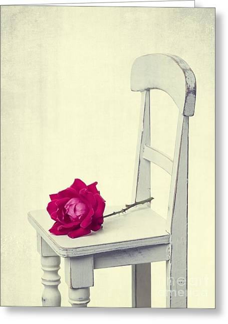 Single Red Rose Greeting Card by Edward Fielding