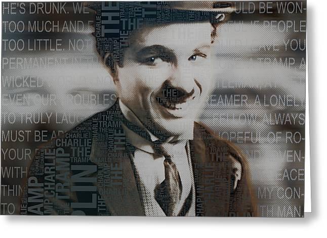 Sir Charles Spencer Charlie Chaplin Square Greeting Card by Tony Rubino