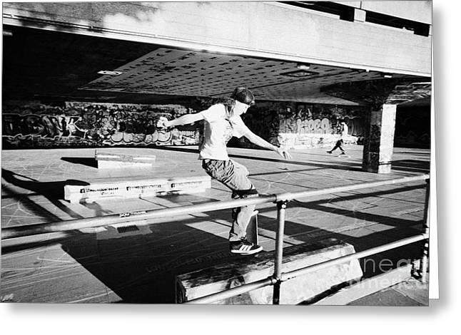 skateboarder at the undercroft skate park of the southbank centre London England UK Greeting Card by Joe Fox
