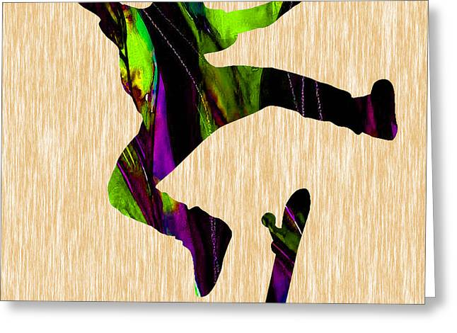 Skateboarder Painting Greeting Card by Marvin Blaine