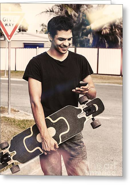 Skater Boy Sending Txt Message With A Smart-phone Greeting Card by Jorgo Photography - Wall Art Gallery