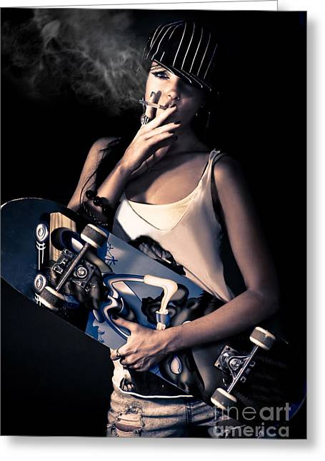 Skater Girl Smoking A Cigarette Greeting Card by Jorgo Photography - Wall Art Gallery