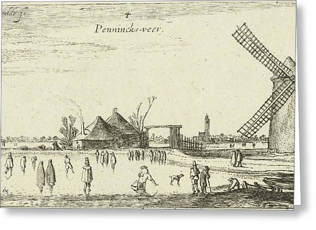 Skaters On The Ice At A Mill Near Penningsveer Greeting Card by Esaias Van De Velde