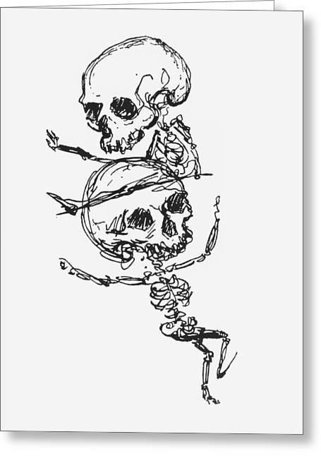 Skeletons, Illustration From Complainte De Loubli Et Des Morts Greeting Card
