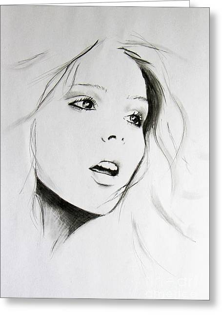 Sketch Of Beauty Greeting Card by Anna Androsovski