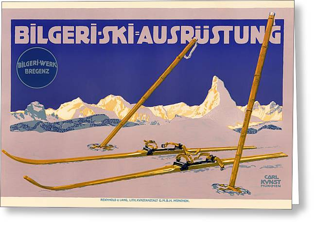 Ski Austria 1910 Greeting Card by Mountain Dreams