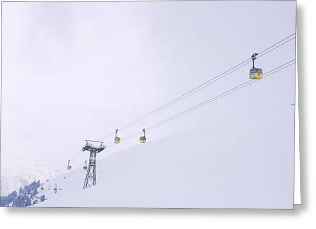 Ski Lifts In A Ski Resort, Arlberg, St Greeting Card by Panoramic Images