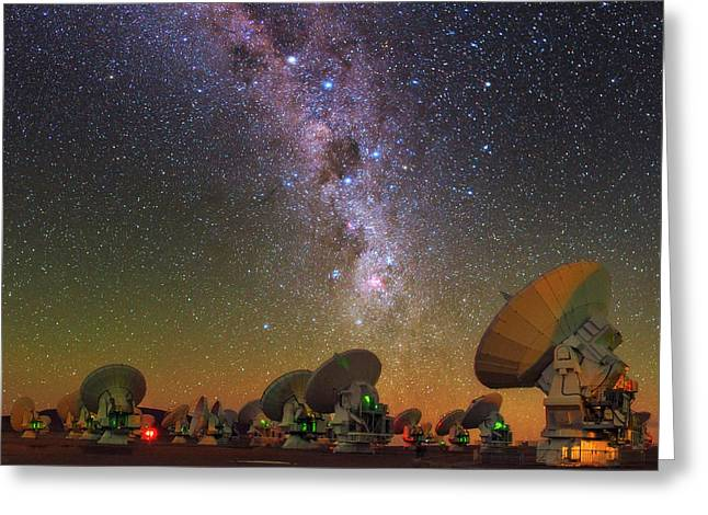 Sky Above Alma Radio Telescope Greeting Card by Babak Tafreshi