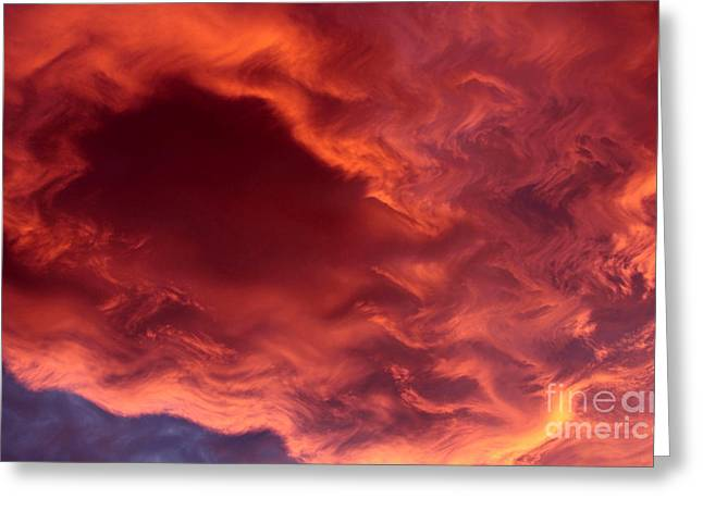 Sky Fire Greeting Card by Krissy Katsimbras
