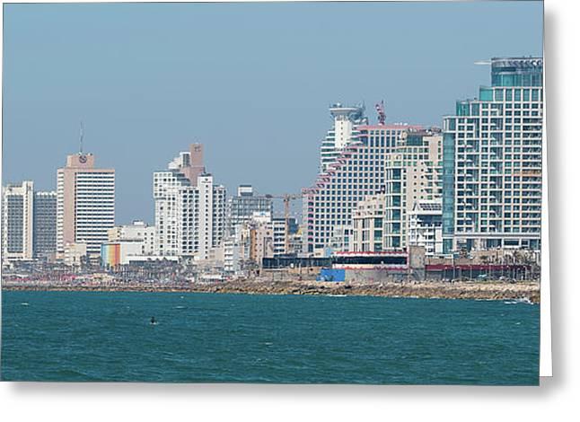 Skyline And Mediterranean Sea, Tel Greeting Card