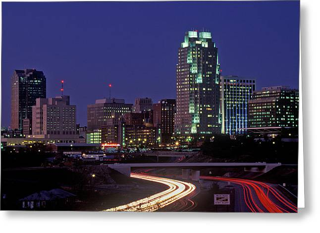 Skyline Of Raleigh, Nc At Night Greeting Card