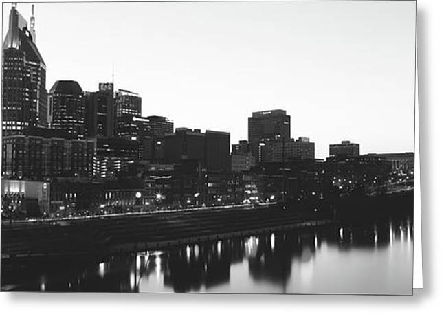Skylines At Dusk, Nashville, Tennessee Greeting Card by Panoramic Images