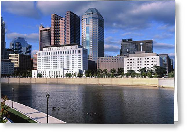 Skyscrapers At The Waterfront, Scioto Greeting Card