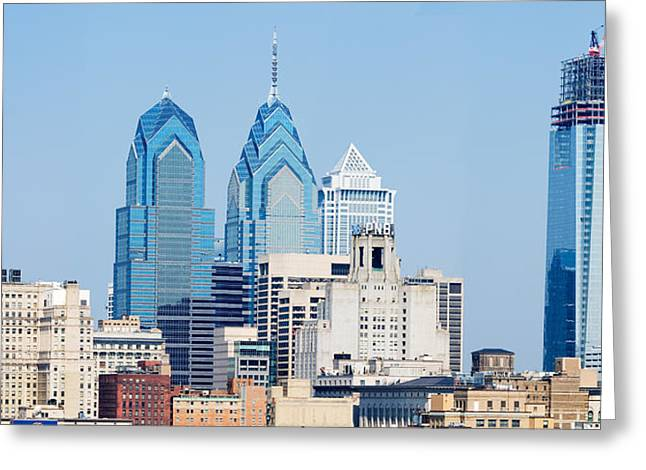 Skyscrapers In A City, Philadelphia Greeting Card by Panoramic Images