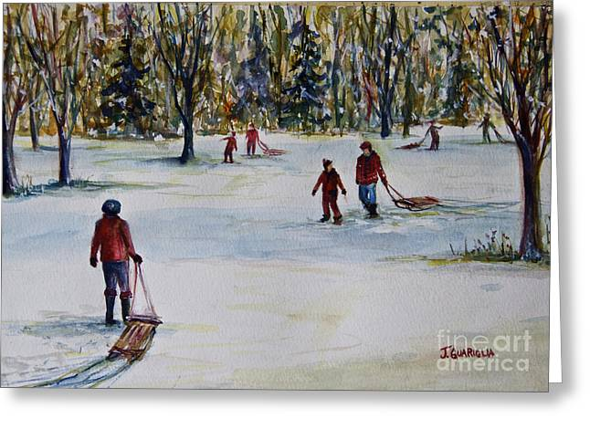 Sledding Greeting Card by Joyce A Guariglia