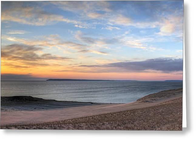 Sleeping Bear Dunes Sunset Panorama Greeting Card by Twenty Two North Photography