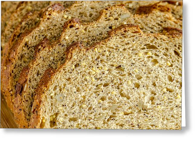 Slices Of Whole Grain Bread Greeting Card by Teri Virbickis