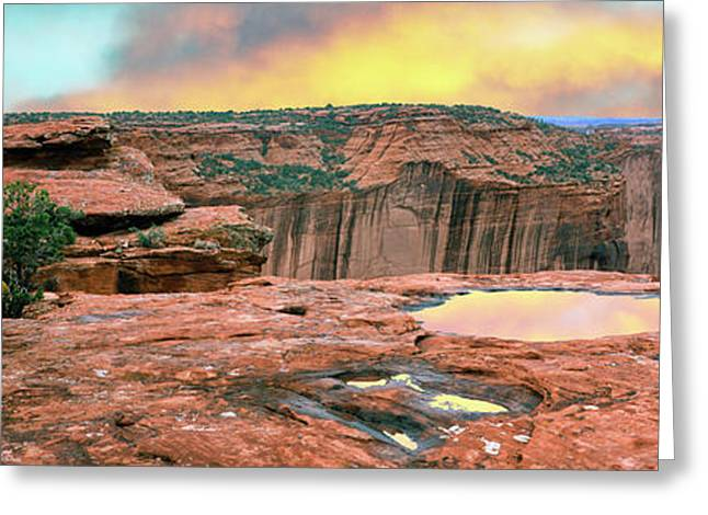 Slickrock Waterpocket Pools Reflect Greeting Card by Panoramic Images