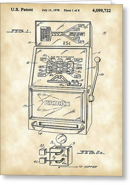Slot Machine Patent 1978 - Vintage Greeting Card by Stephen Younts