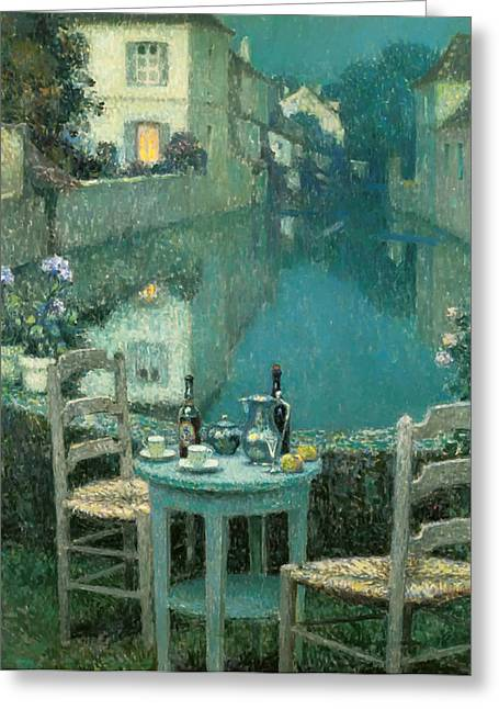 Small Table In Evening Dusk Greeting Card by Mountain Dreams