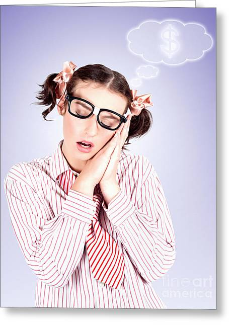 Smart Accountant Business Woman Dreaming Of Money Greeting Card
