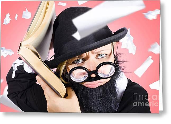 Smart Nerd Businessman Listening To Book Info Greeting Card by Jorgo Photography - Wall Art Gallery