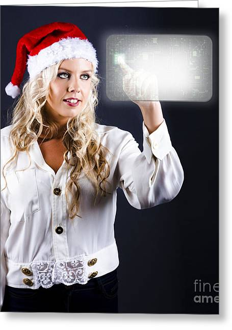 Smart Woman Shopping Online For Christmas Presents Greeting Card