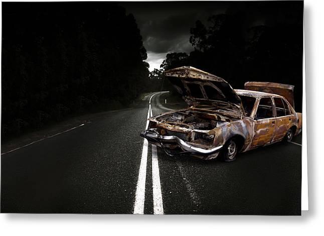 Smashed Up Car Wreck Greeting Card