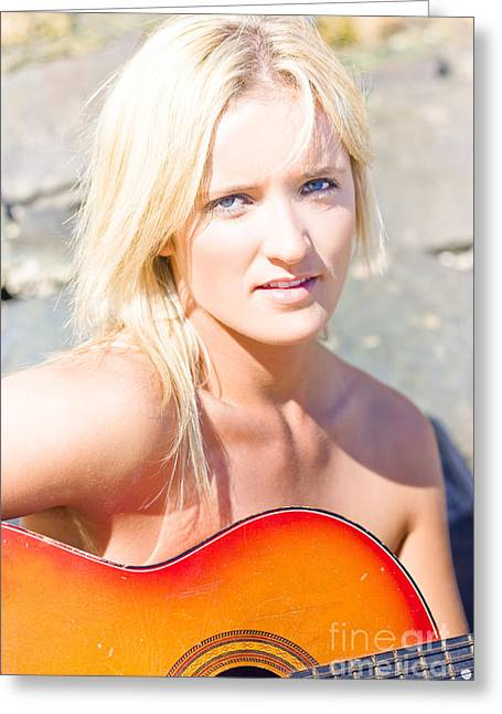 Smiling Female Guitarist Greeting Card by Jorgo Photography - Wall Art Gallery