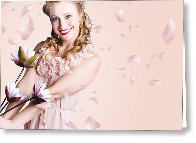 Smiling Flower Girl Dancing In Spring Petal Rain Greeting Card