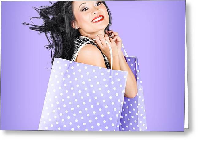 Smiling Girl Shopper Holding Purple Shopping Bags Greeting Card by Jorgo Photography - Wall Art Gallery
