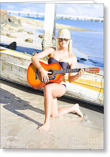 Smiling Girl Strumming Guitar At Tropical Beach Greeting Card by Jorgo Photography - Wall Art Gallery