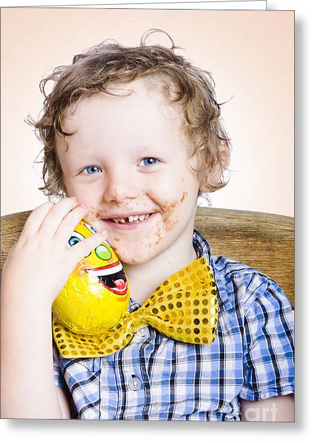 Smiling Happy Kid Holding Easter Egg Gift Greeting Card