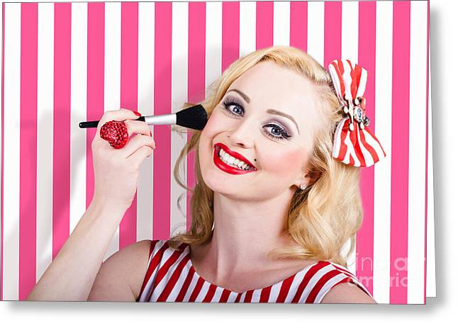 Smiling Makeup Girl Using Cosmetic Powder Brush Greeting Card