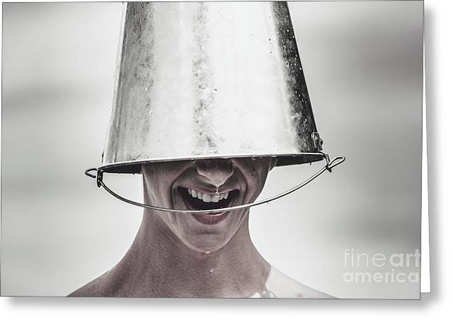 Smiling Man Laughing With Ice Bucket On Head Greeting Card by Jorgo Photography - Wall Art Gallery