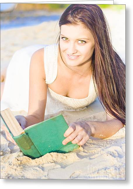 Smiling Person Relaxing With Book Greeting Card by Jorgo Photography - Wall Art Gallery