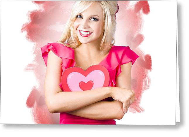 Smiling Romantic Blond Female Hugging Love Heart Greeting Card by Jorgo Photography - Wall Art Gallery