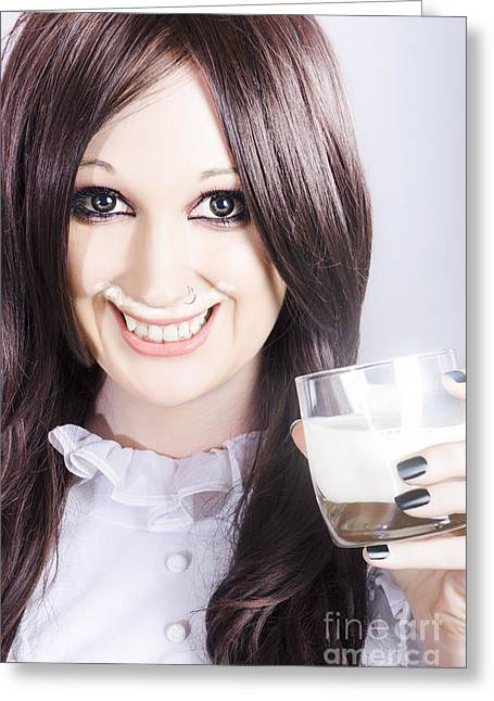Smiling Woman Drinking Milk With A Milky Moustache Greeting Card by Jorgo Photography - Wall Art Gallery