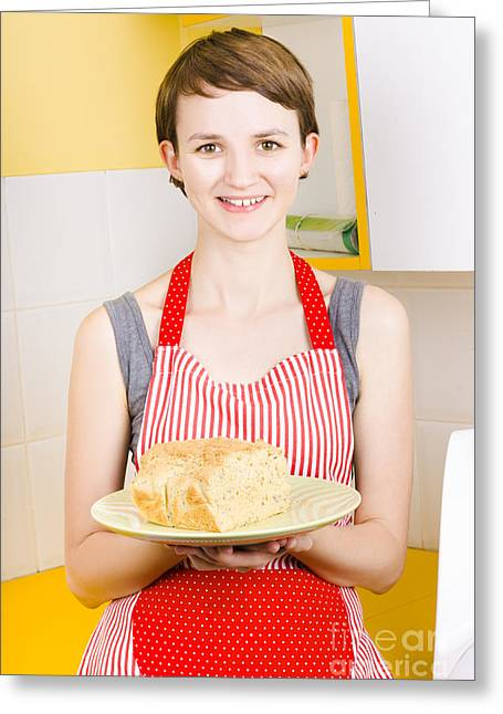 Smiling Woman Holding Fresh Loaf Of Homemade Bread Greeting Card